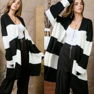 LILY Striped Color Block Cardigan